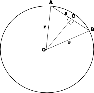 Diagram showing section of polygon, OAB<br /> bounded in a circle, and bisected by line OC